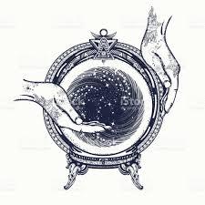 fortune teller tattoo art and tshirt design magic crystal ball in