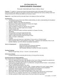 cover letter administrative assistant job description
