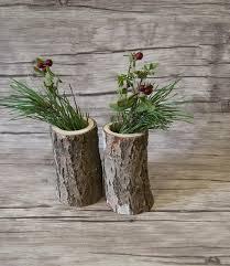 wood log vases rustic home decor five wooden cylinder vases 5 log vases