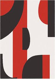 tappeto moderno rosso tappeto geometrico blend beige rosso e grigio 160x230 cm