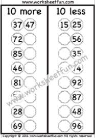 addition subtraction u2013 10 more 10 less free printable worksheets