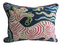 home design down pillow clarence house tibet dragon navy linen down pillow clarence