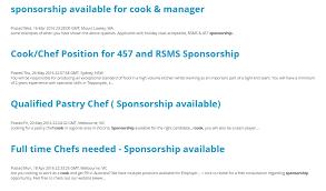 demande d emploi chef de cuisine cuisinier et chef cuisinier en australie guide professionnel 2017