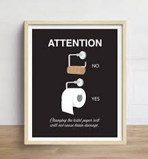 Funny Toilet Paper Funny Bathroom Art Toilet Paper Print Bathroom Wall Art