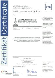 certificates and approvals armaturenbau gmbh and manotherm
