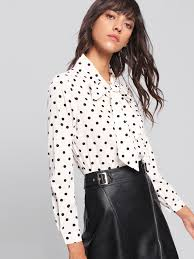 blouses with bows at neck bow tie neck dot print blouse shein sheinside