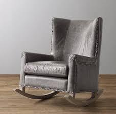 Pottery Barn Rocking Chair Italian Milano Leather Nailhead Rocker