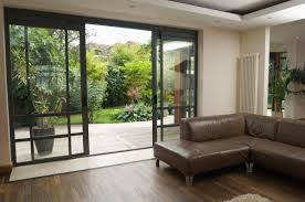 interior wall glass design building with the sliding glass door