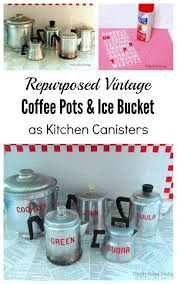 Green Kitchen Canisters Repurposed Vintage Coffee Pots Thrifty Rebel Vintage