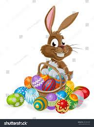 easter bunny rabbit cartoon character holding stock vector