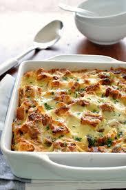 egg strata casserole chicken and spinach bread bake strata recipetin eats