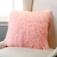 pink faux fur home decor pillows 18 x inserts included loversiq