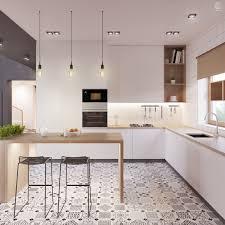 cuisine contemporaine blanche et bois cuisine avec îlot façon bar blanc bois décoration http