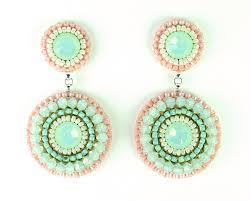 Chandelier Earrings Etsy Mint Earrings Mint Peach Coral Chandelier Earrings Bridal