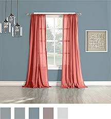 Coral Sheer Curtains No 918 Open Weave Cotton Sheer Curtain Panel 50