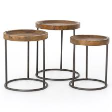 loup rustic loft reclaimed iron nesting table set of 3 kathy