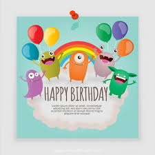monsters birthday card vector free download