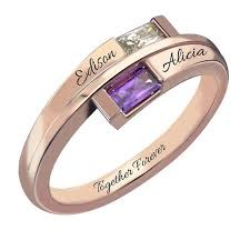 gold name ring gold color baguette bypass ring withtwo name birthstone