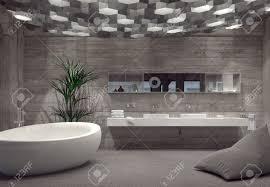 salle de bain de bateau salle de bains de luxe intérieur gris moderne avec baignoire en