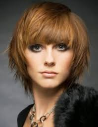 short hair with bangs and layers women medium haircut