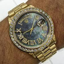 diamond rolex 18k rolex day date black mop roman numeral diamond dial u0026 diamond