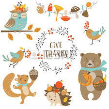 set of woodland animals for autumn and thanksgiving design