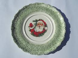 cake plate w santa waving vintage handmade ceramic platter