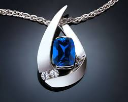 blue sapphire silver necklace images Sapphire necklace etsy jpg