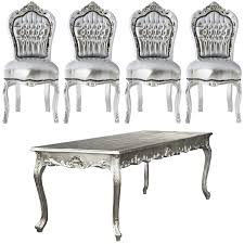 Esszimmergarnitur Esstisch Mit Stühle Barock Design Silber Esszimmergarnitur