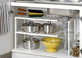 UNDER SINK CADDY RACK STORAGE ORGANISER SHELF UNIT ADJUSTABLE - Kitchen sink shelves