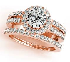 rose rings images 1 00 carat round brilliant cut rose gold halo diamond engagement jpeg