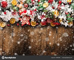 merry frame with snow and real wood green pine colorful