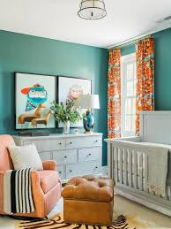 Orange And Blue Curtains Blue And Orange Boy Nursery With Gray Paneled Crib Transitional