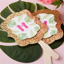 personalized fans for weddings personalized pineapples and palms gold glitter fan