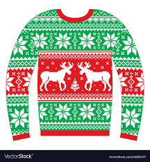 christmas jumper christmas jumper or sweater with reindeer vector image