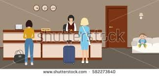 Hotel Reception Desk Hotel Reception Young Woman Receptionist Stands Stock Vector