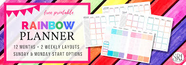 free printable rainbow stationery totally cute and free printable rainbow planner monthly weekly