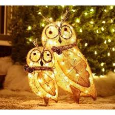 2 indoor outdoor lighted burlap owl family great