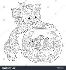 coloring page kitten playing clown fish stock vector 705639967