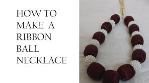 ribbon necklace making images How to make ribbon ball necklace diy ribbon necklace making k jpg