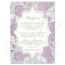 Invitation Cards For Wedding Reception Mauve Silver Gray White Floral Wedding Reception Enclosure Card