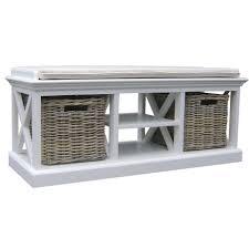black entryway bench with storage baskets u0026 cushions wood