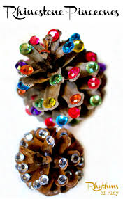rhinestone pinecones rustic christmas home decor rhythms of play