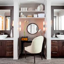 contemporary makeup vanity bathroom beach style with white wood
