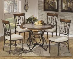 5 piece round dining table set with steel frame u0026 faux marble