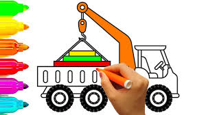 crane truck coloring pages learning colors with construction