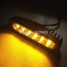 boat led light bar 2pcs 12v 18w 6inch amber led light bar yellow led driving work