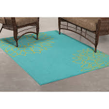 Outdoor Rugs At Walmart by Mainstays Outdoor Flower Polypropylene Rug Turquoise 6 U0027 X 8