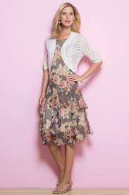 floral corkscrew dress and pointelle shrug sweater set classic