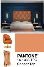 mood board using pantone copper tan for a fabulous home decor